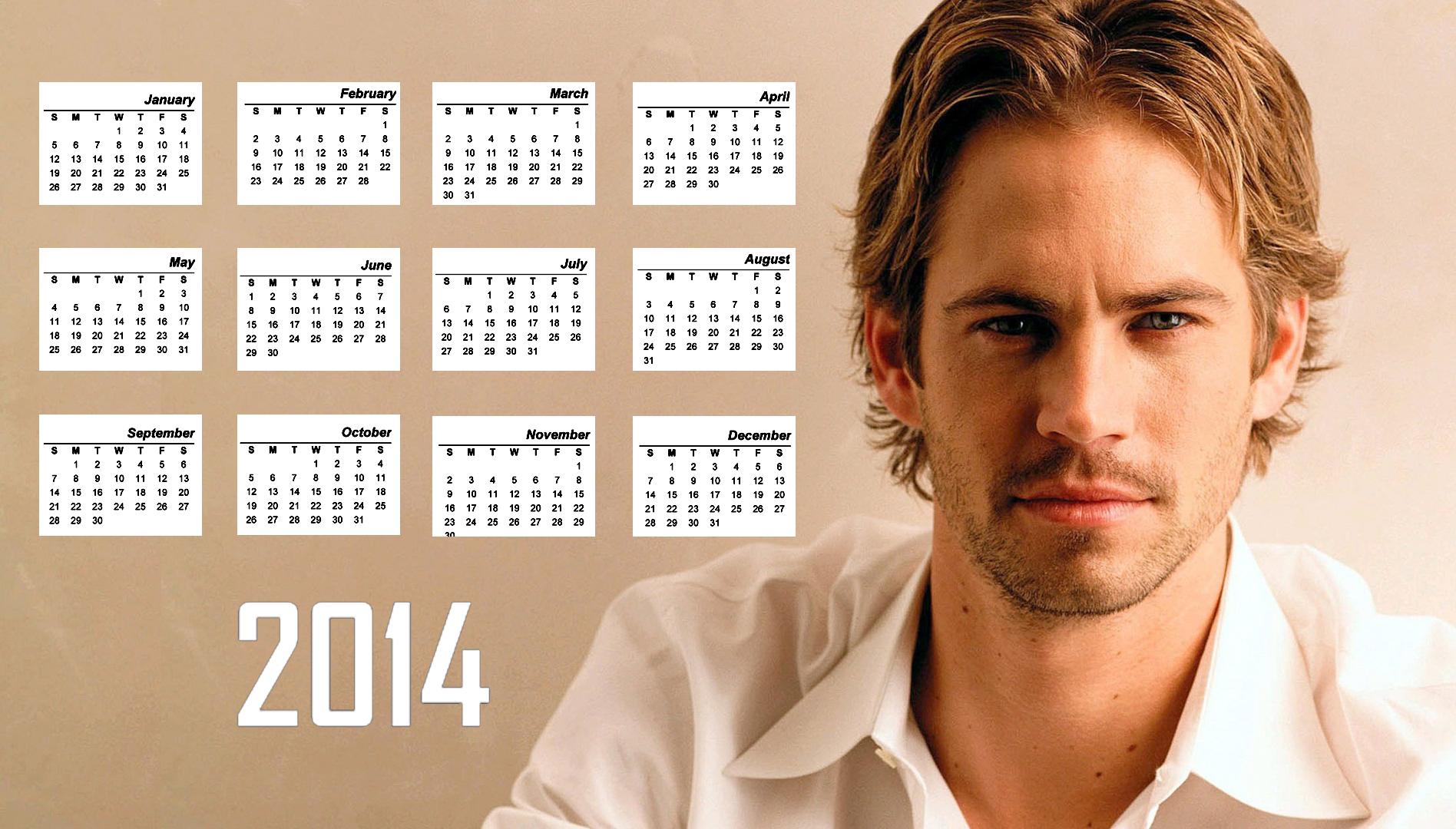 2014 Calendar Paul Walker Wallpaper