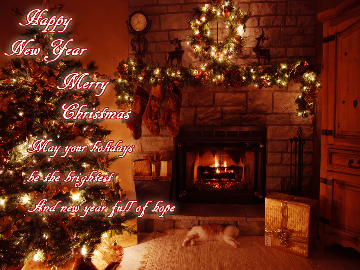 New year 2014 christmas 2013 greeting cards e cards wallpapers fireplace christmas greetings ecards m4hsunfo