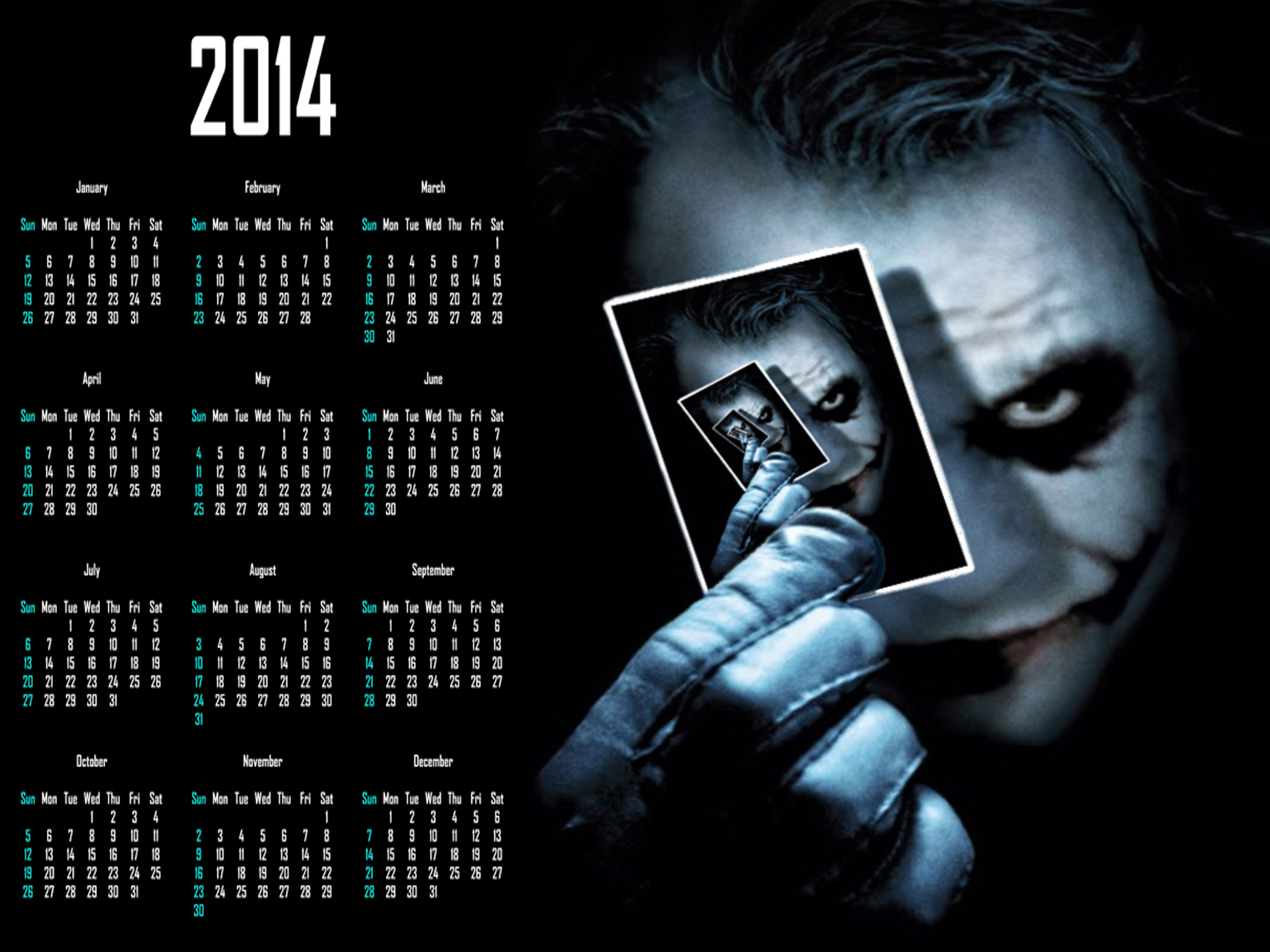batman dark knight joker calendar 2014