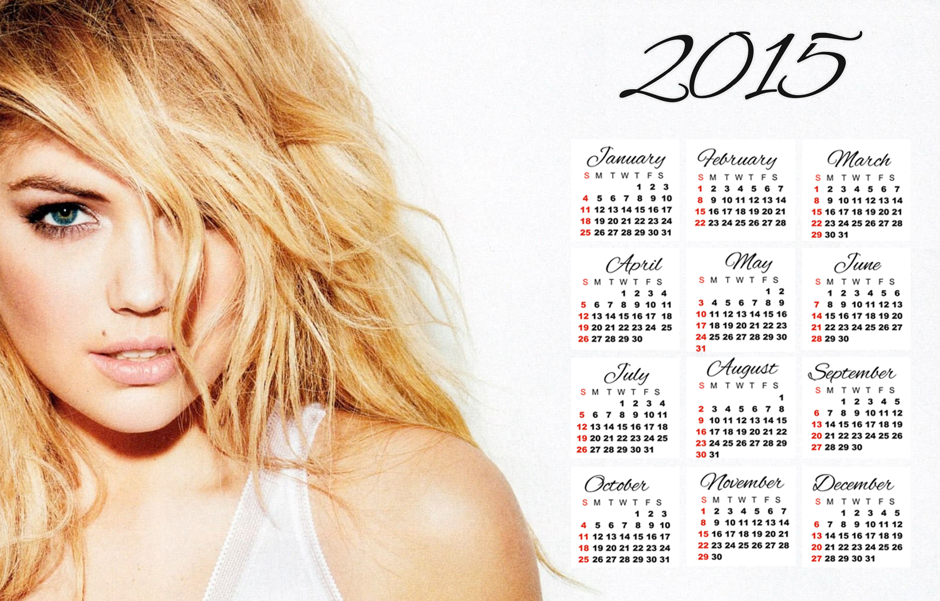 Kate Upton sexy wallpaper calendar 2015