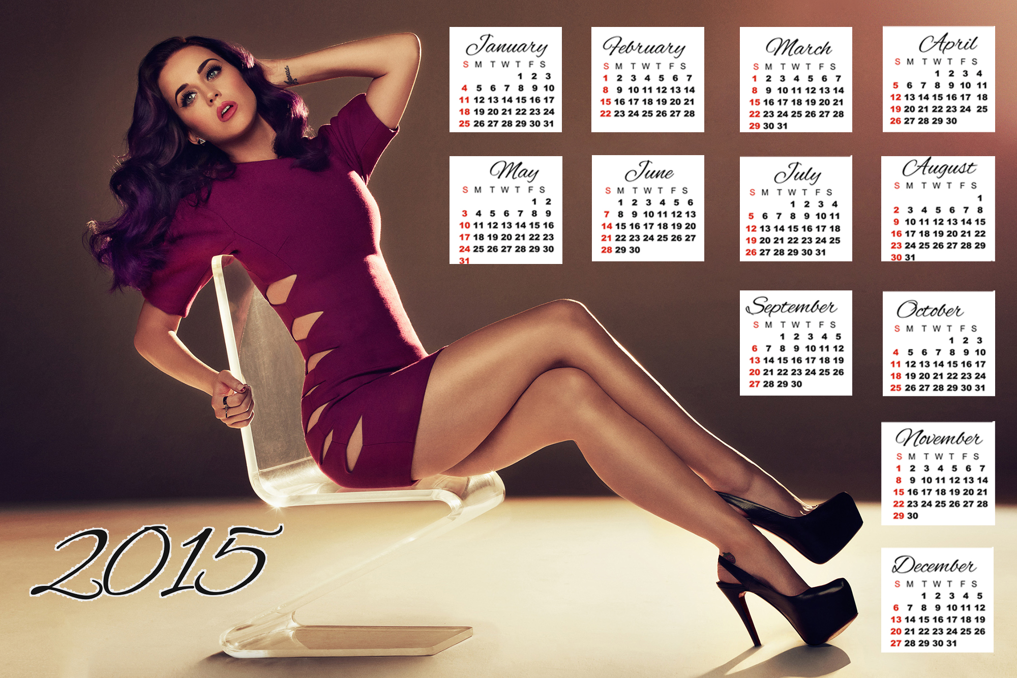 Katy Perry purple dress wallpaper calendar 2015