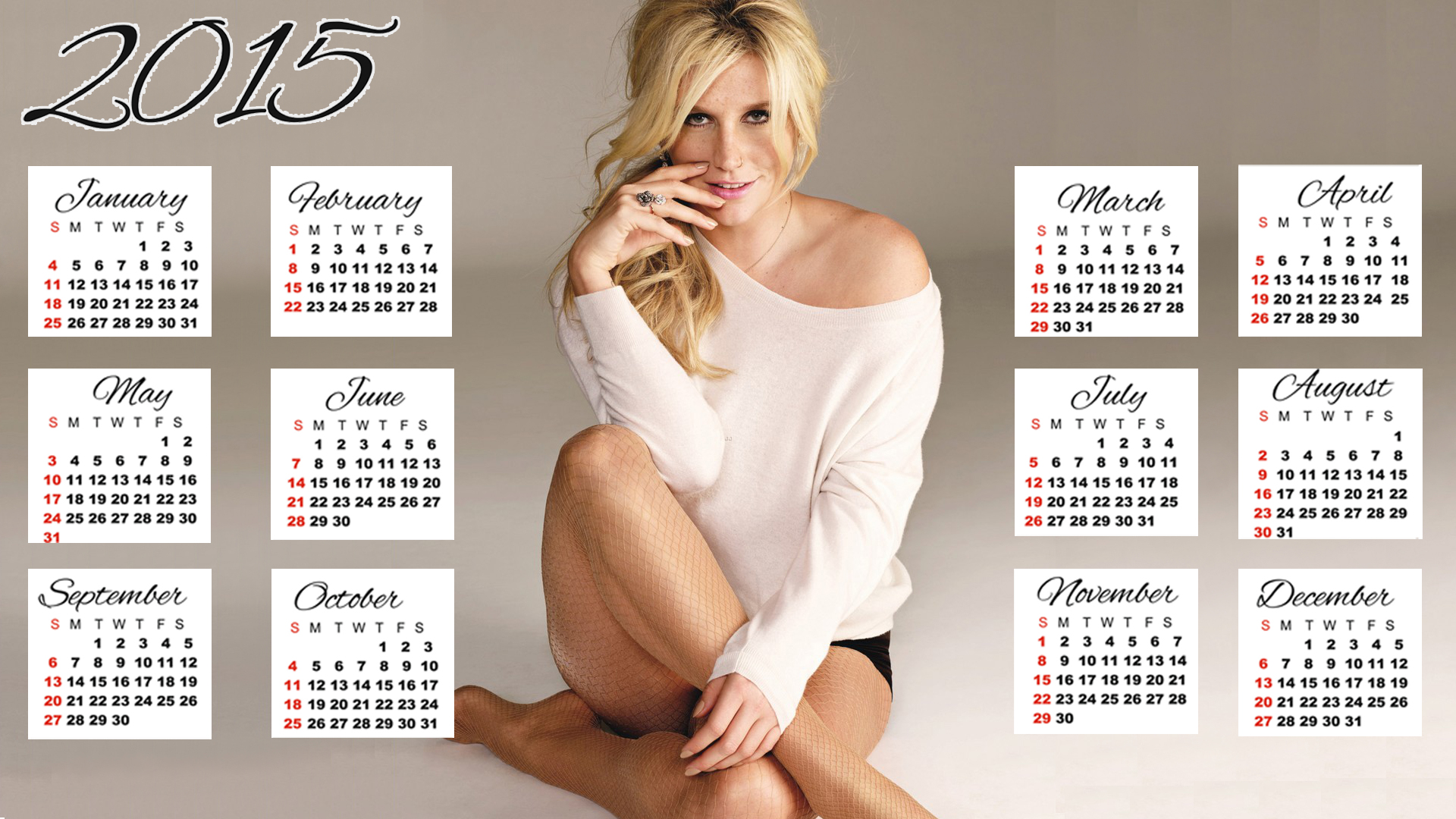 Kesha dress hair sitting calendar 2015