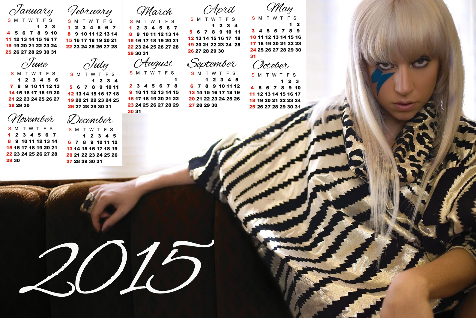 Lady Gaga black white dress calendar 2015