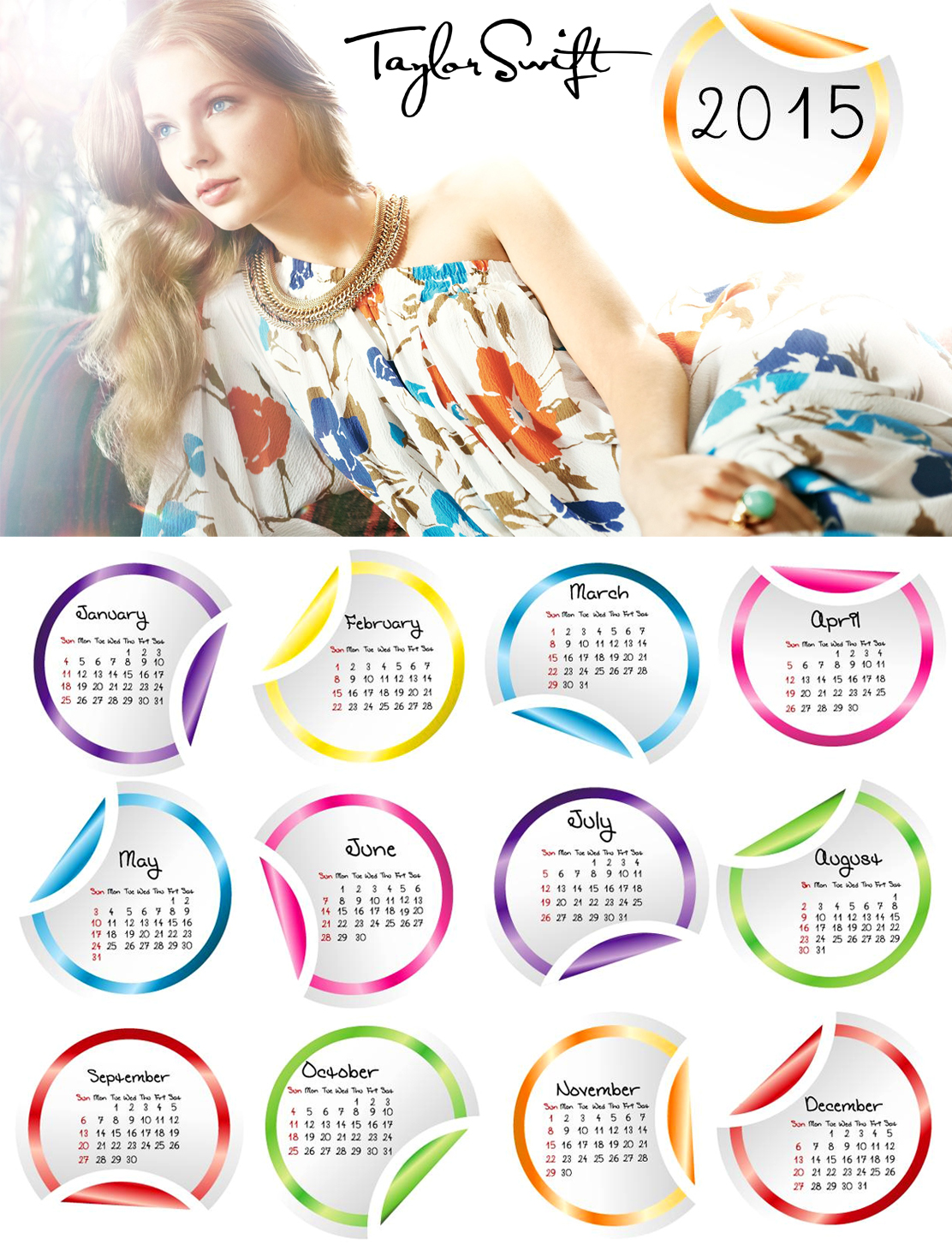 Taylor Swift Signed Wallpaper Calendar 2015