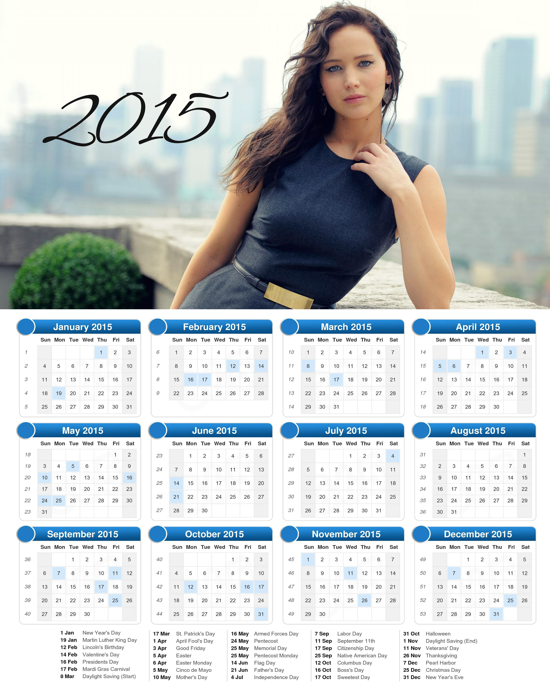 jennifer lawrence  calendar 2015 with holidays