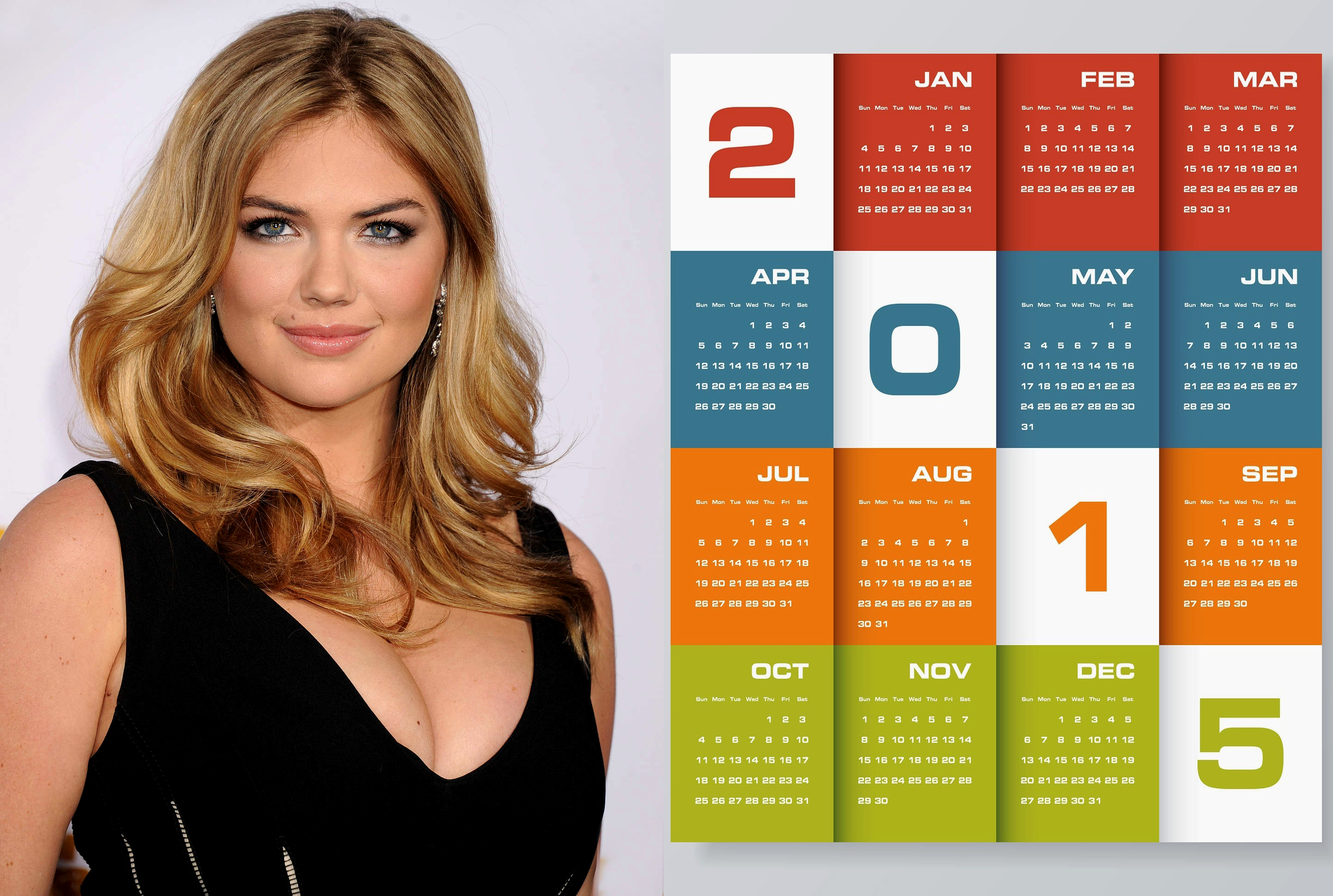 kate upton black dress wallpaper calendar 2015