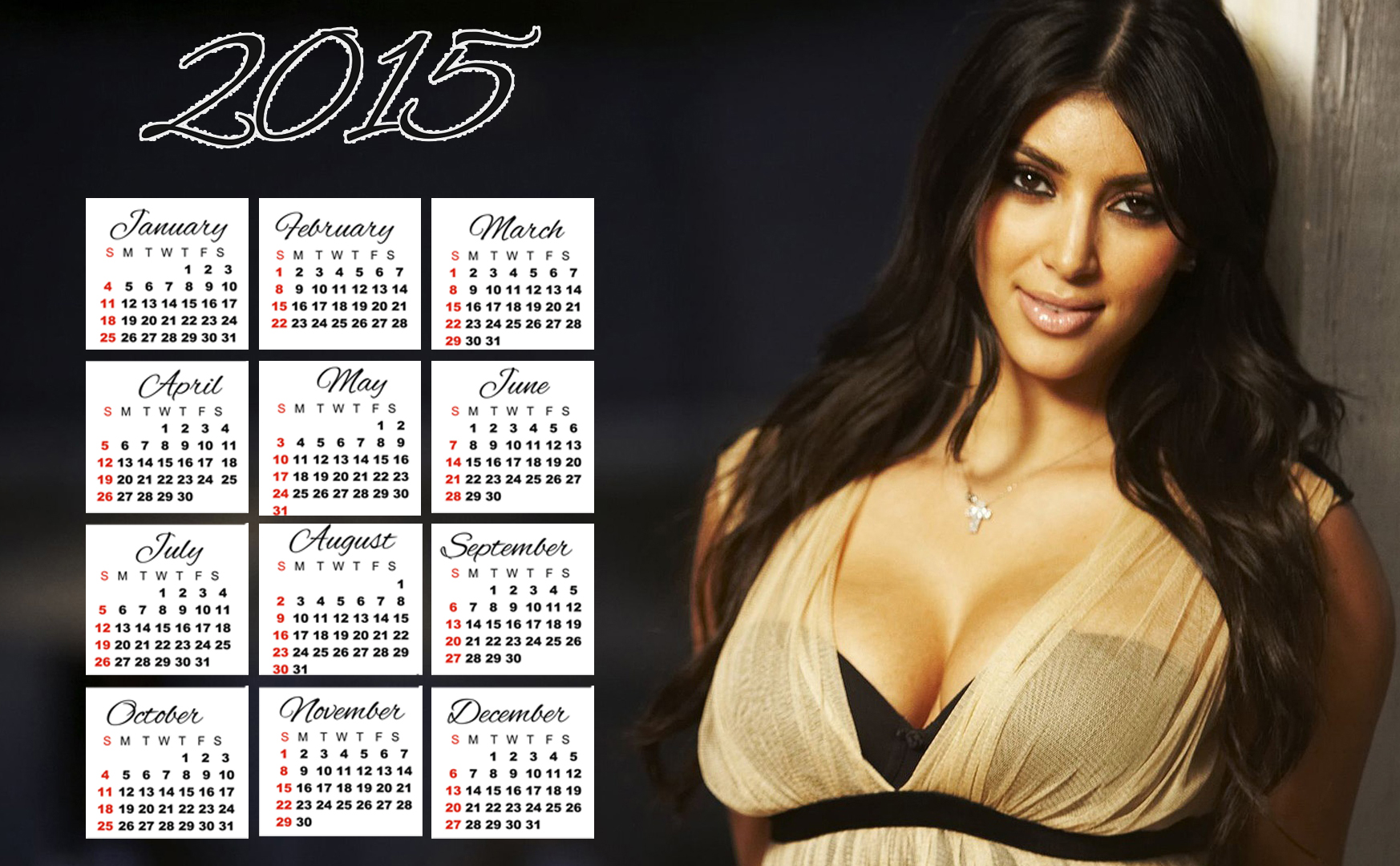 kim kardashian long hair wallpaper calendar 2015