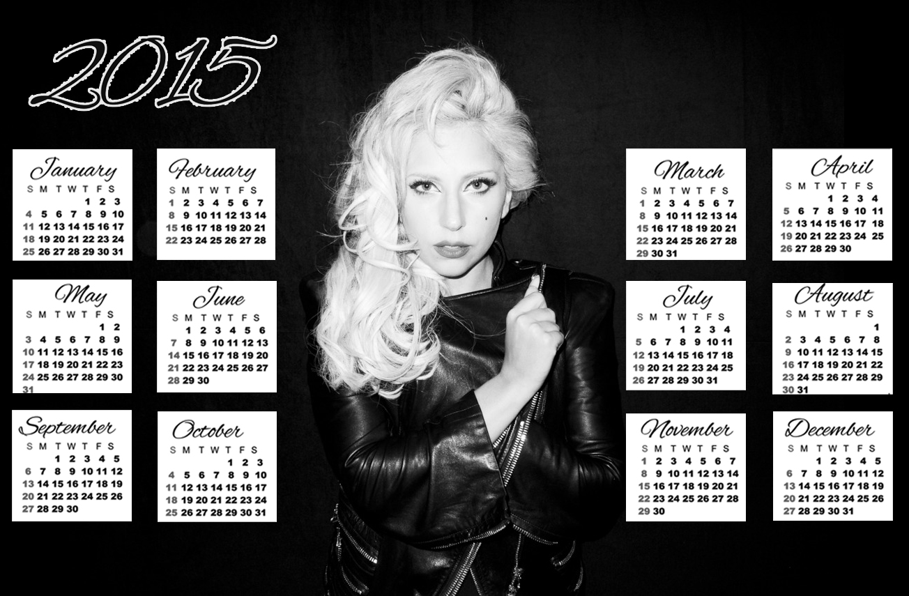 lady gaga black dress hair calendar 2015