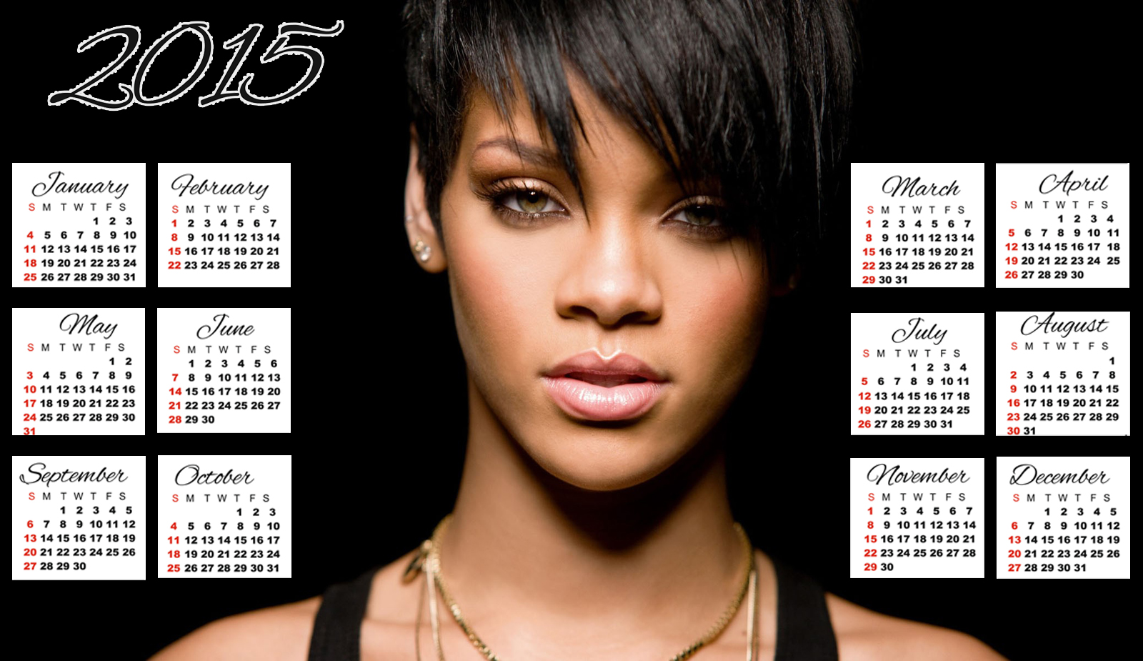 rihanna black short hair calendar 2015