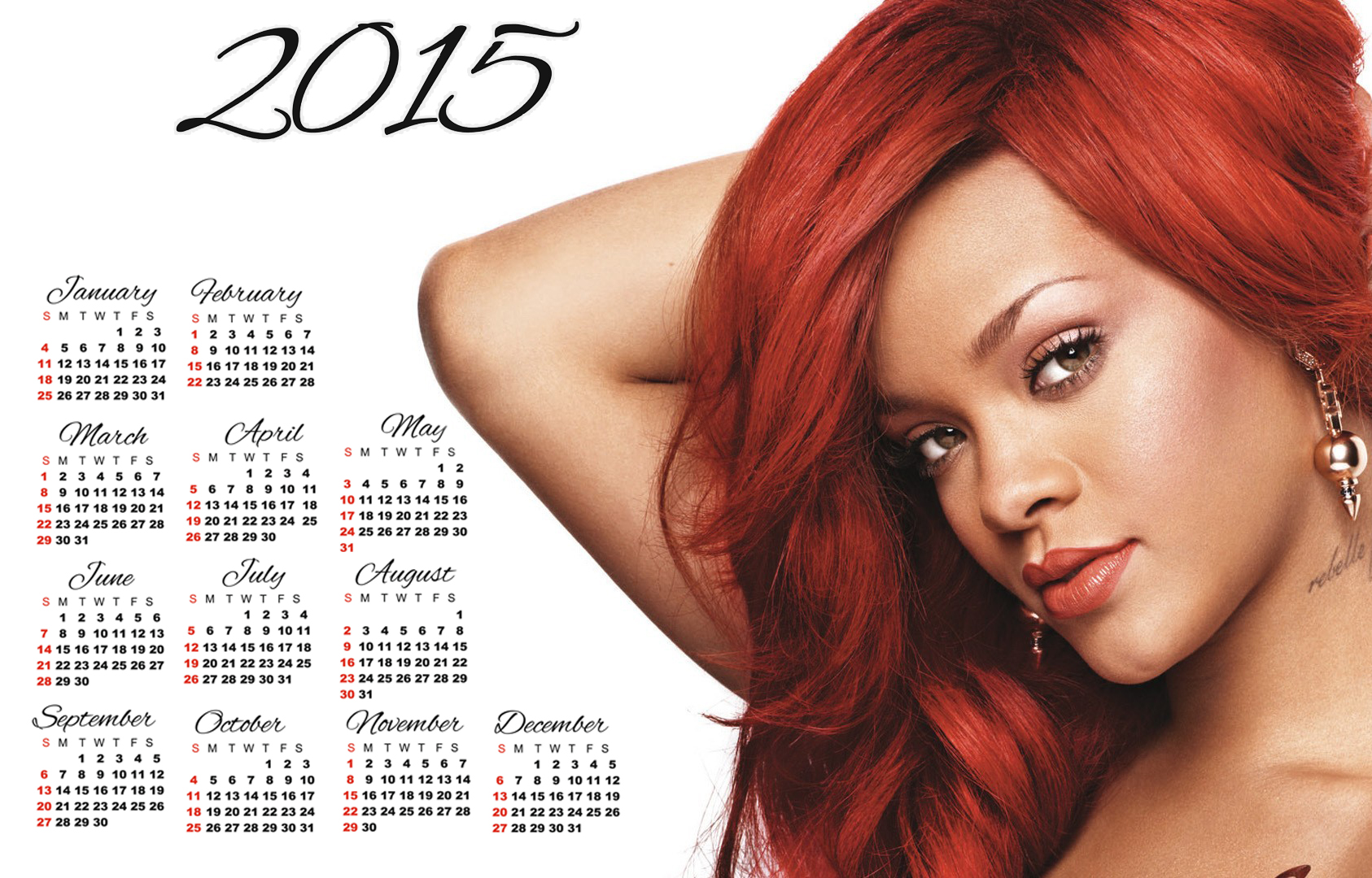 rihanna red long hair wallpaper calendar 2015