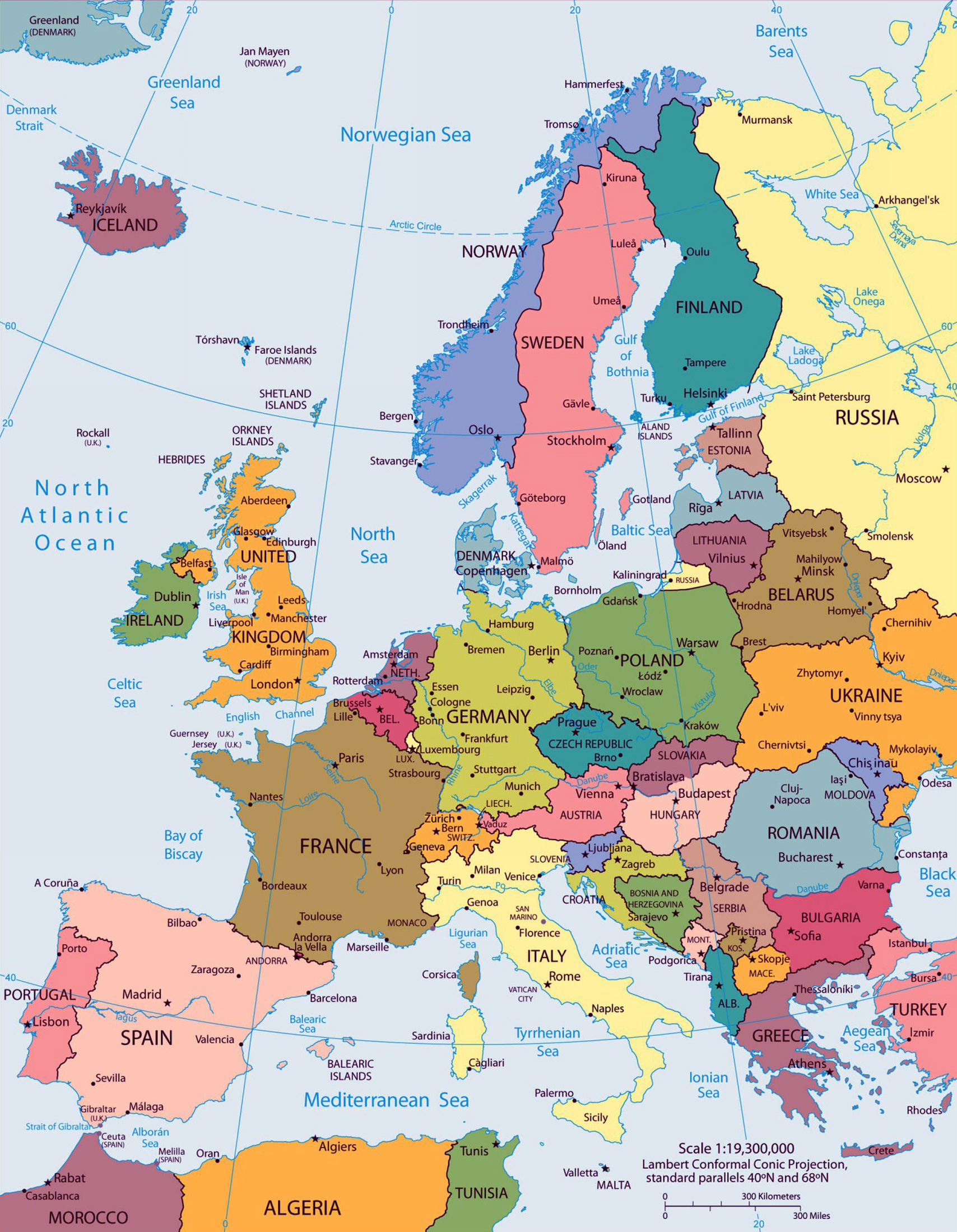 Large big Europe flag, political map showing capital ... - photo#6