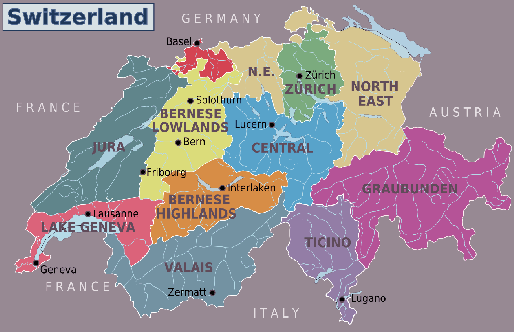 Switzerland staes provinces map colorful Big Large