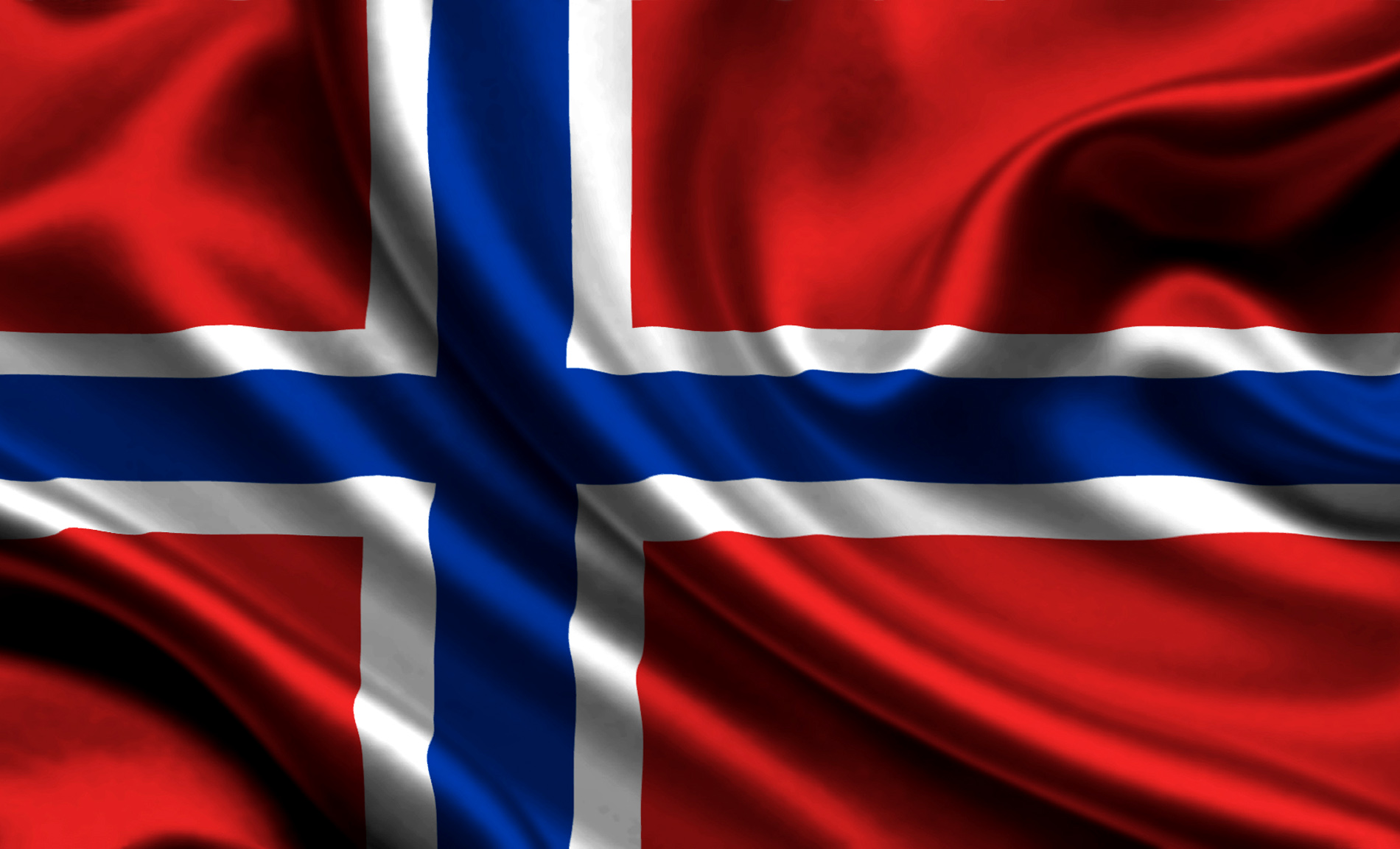 big size norway flag waving