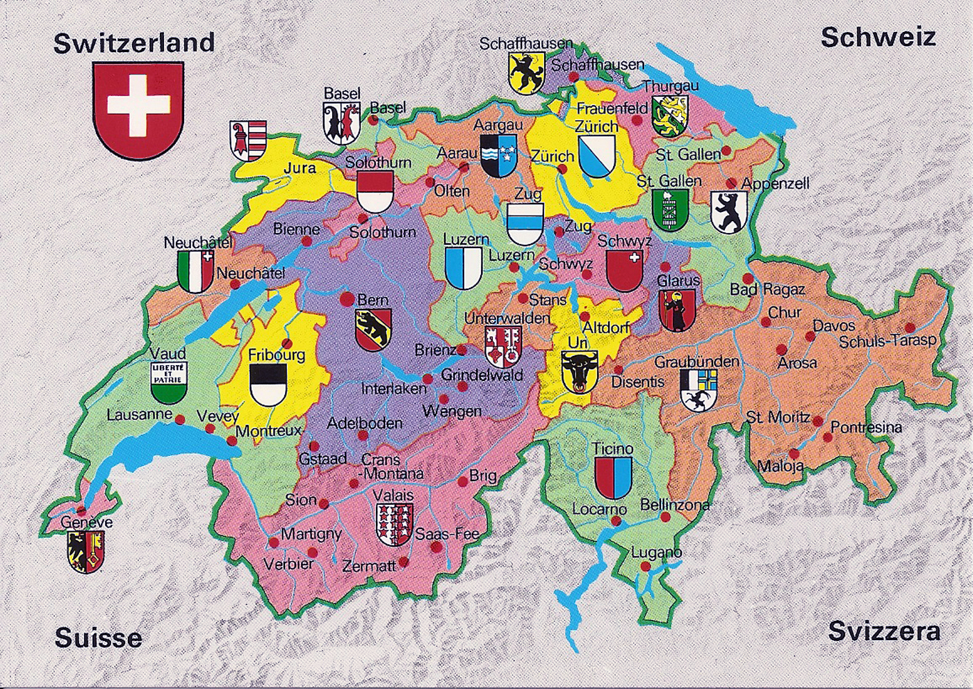 Big Large Size Switzerland Political Road Map and Flag Travel