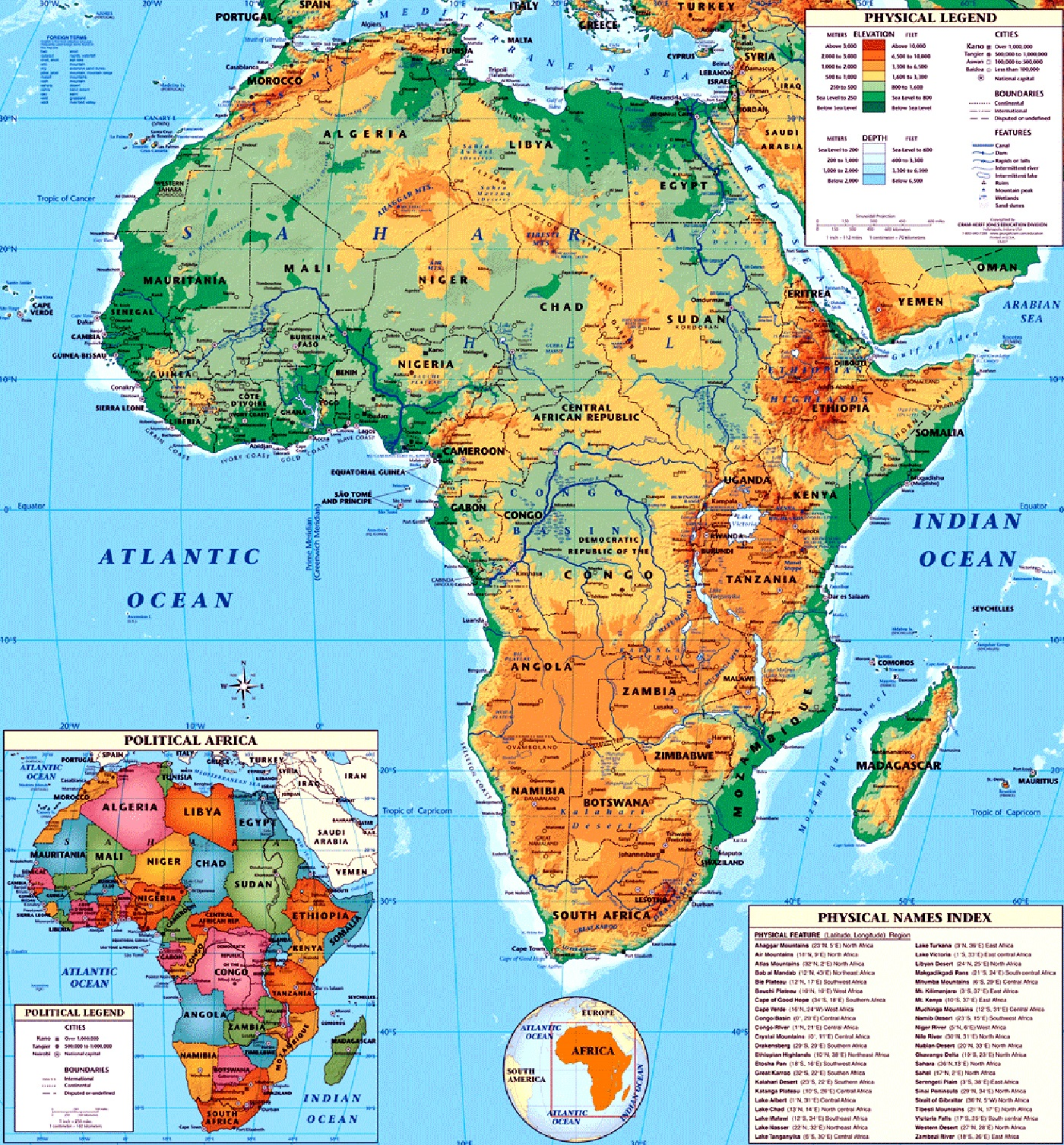 Maps Of African Continent Countries Capitals And Flags Travel - Political map of africa