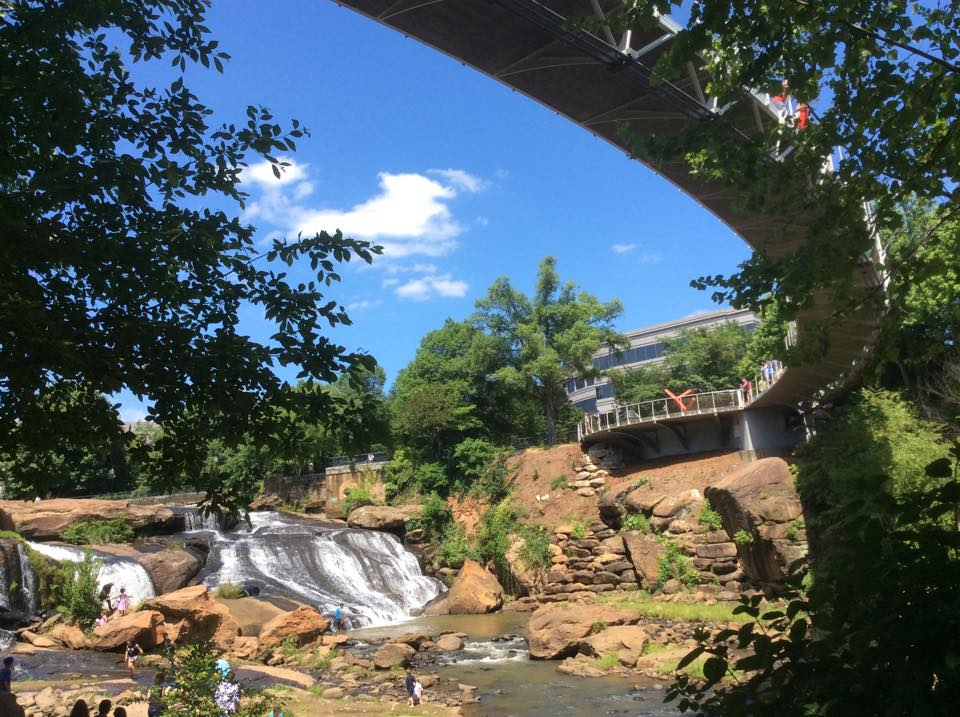 liberty bridge falls park on the reedy greenville