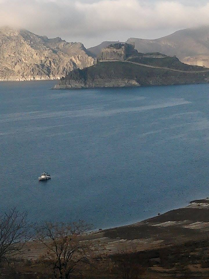 castle island on murat river pertek castle eastern turkey