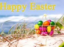 easter eggs basket wallpaper greeting card