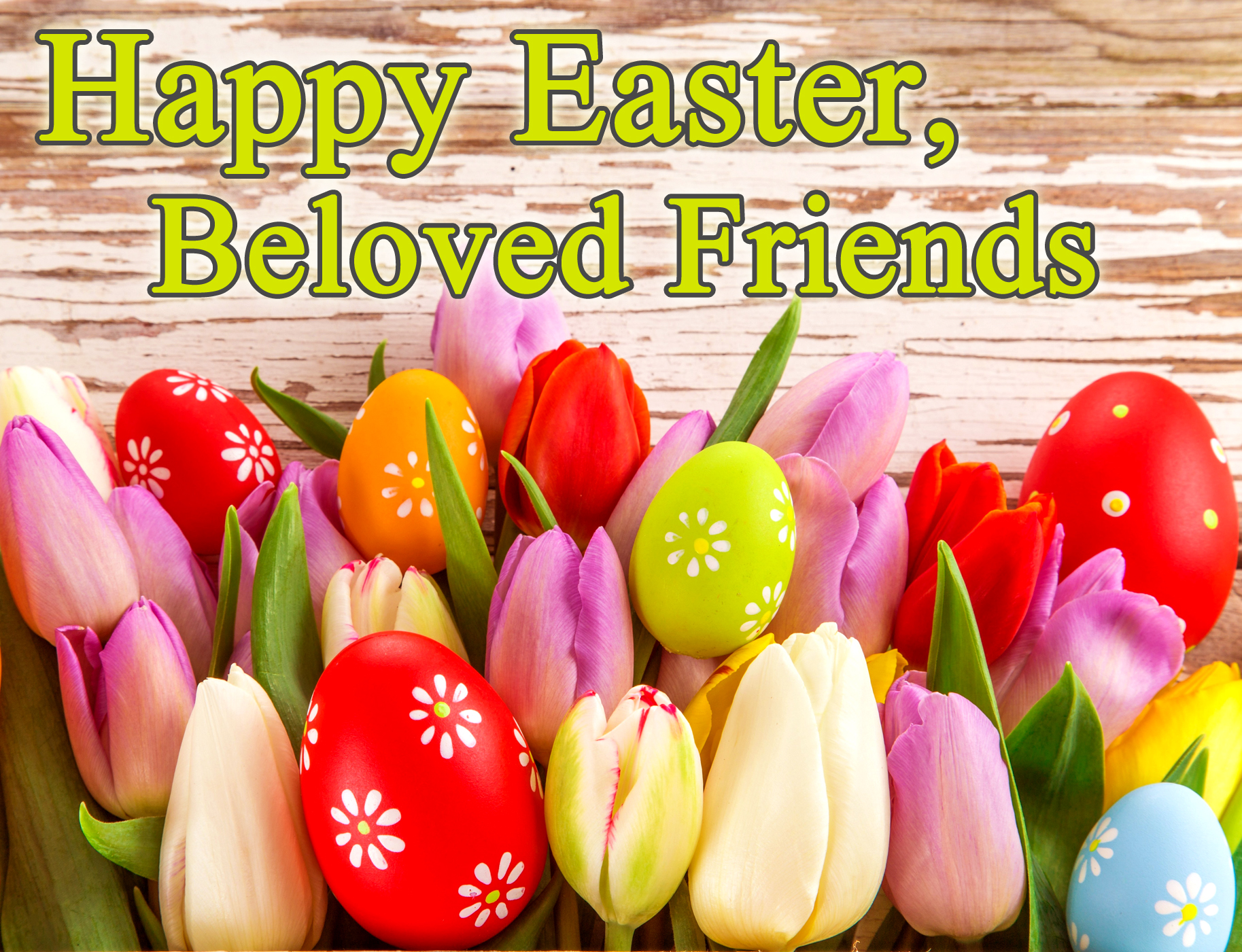 happy easter greeting card for friends