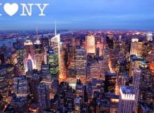 new york city skyline at night colorful