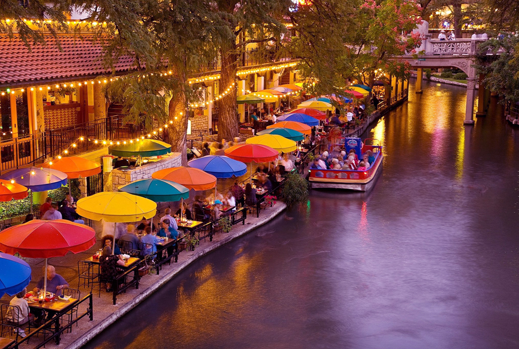 san antonio river walk stroll at dusk