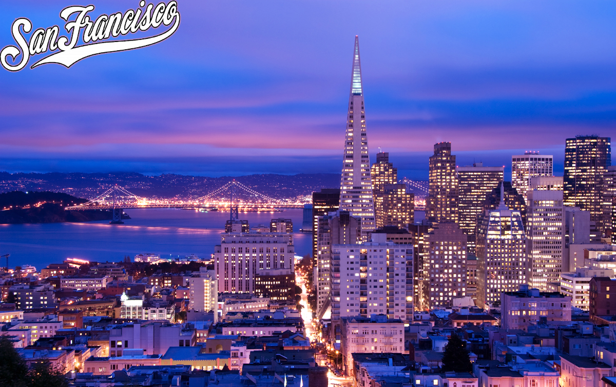 san francisco city lights skyline at night