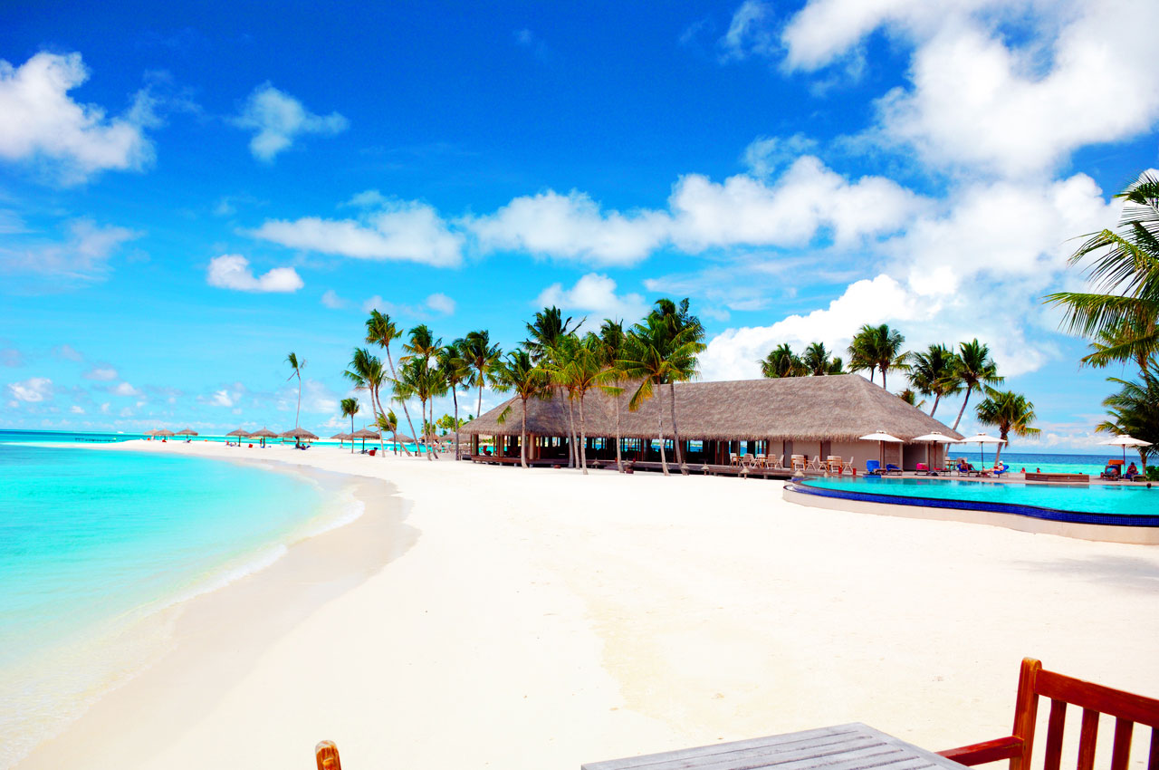 White Sandy Beach And Blue Water Of Maldives Islands